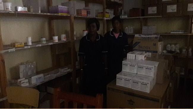 We have also a pharmacy and those are the two pharmacists-SARA CHITSEKA AND OLIVE SAKHULANI